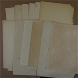 12 sheets genuine vintage reclaimed antique A4+ plain paper , medium age toning