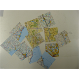 12 sheets ORIGAMI paper 10 x 10cm , random map cuttings