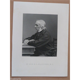 antique engraving circa 1900 , WILLIAM GLADSTONE