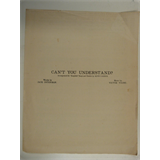 banjo / uke arr CAN`T YOU UNDERSTAND , 1939